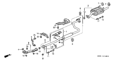 1997 Honda Civic Exhaust System Diagram - Civic Dx At Exhaust Pipe Diagram - 1997 Honda Civic Exhaust System Diagram