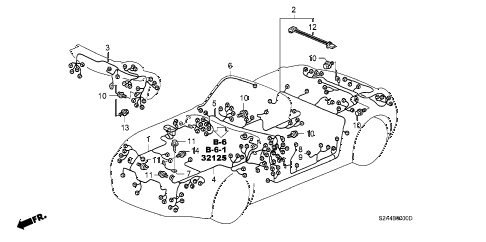 2001 s2000 S2000 2 DOOR 6MT WIRE HARNESS diagram