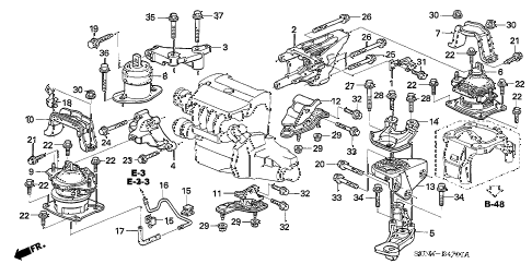 honda online store 2005 accord engine mounts (l4) (at) parts  2005 accord engine diagram #15