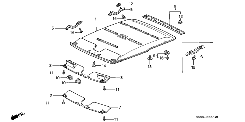 Honda online store : 1997 civic roof lining parts