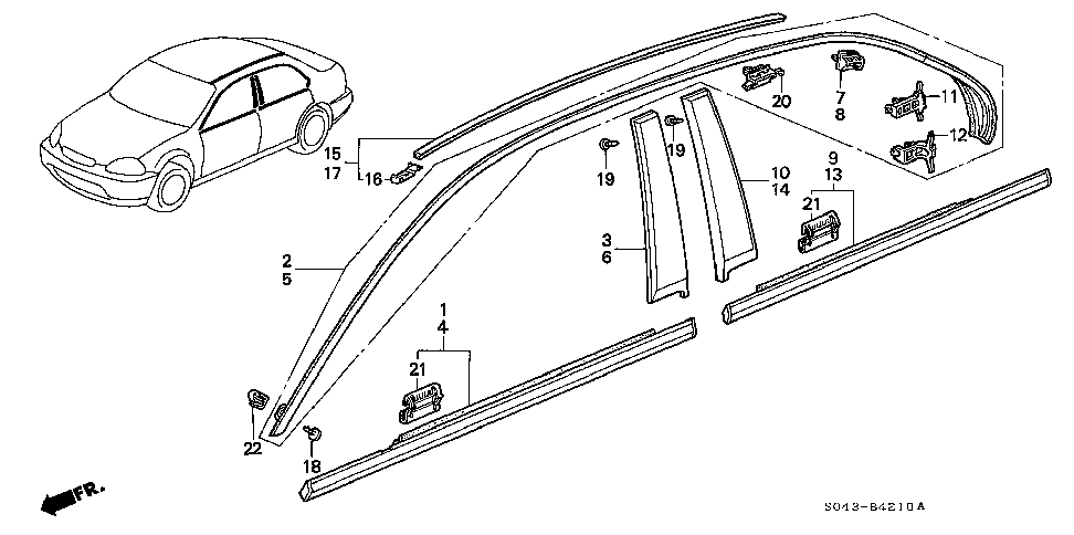 73821-SR4-003 - CLIP A, R. RR. PILLAR GARNISH