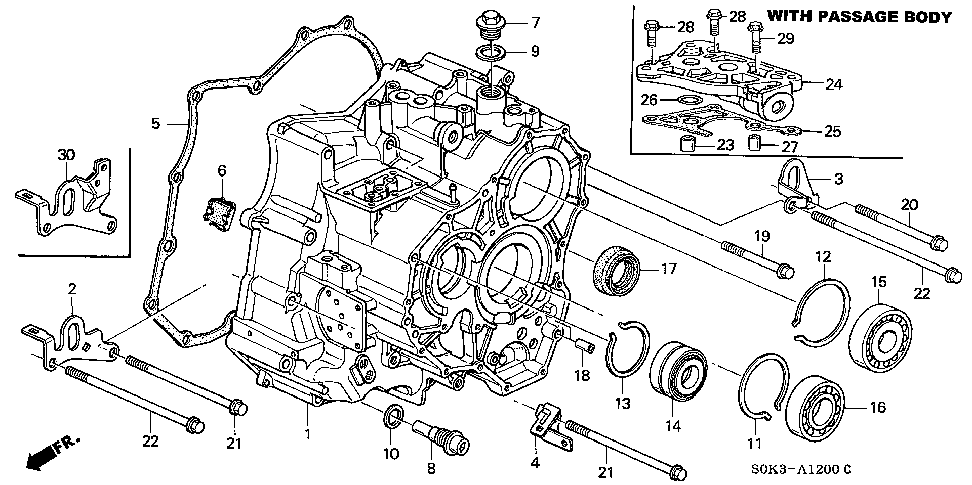 21210-P7W-425 - CASE, TRANSMISSION (DOT) (WITH PASSAGE BODY)