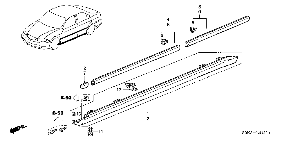 91513-SM4-000 - CLIP, SIDE SILL GARNISH (UPPER)