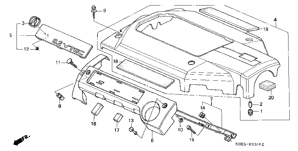 17147-P8E-A20 - STAY ASSY., IN. MANIFOLD COVER