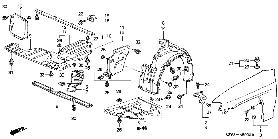 74168-S3Y-000 - COVER, L. FR. SIDE
