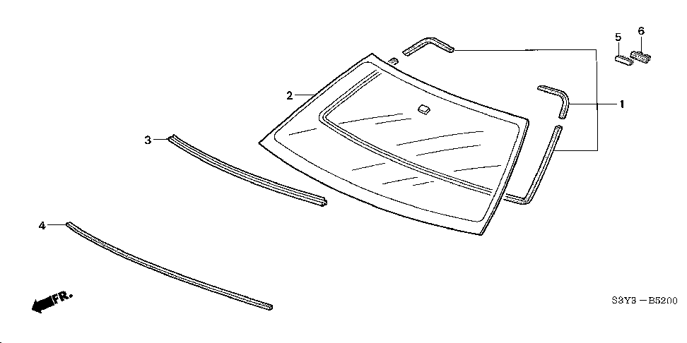 73150-S3Y-003 - MOLDING, FR. WINDSHIELD
