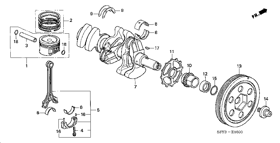 13215-PHM-023 - BEARING E, CONNECTING ROD (YELLOW)