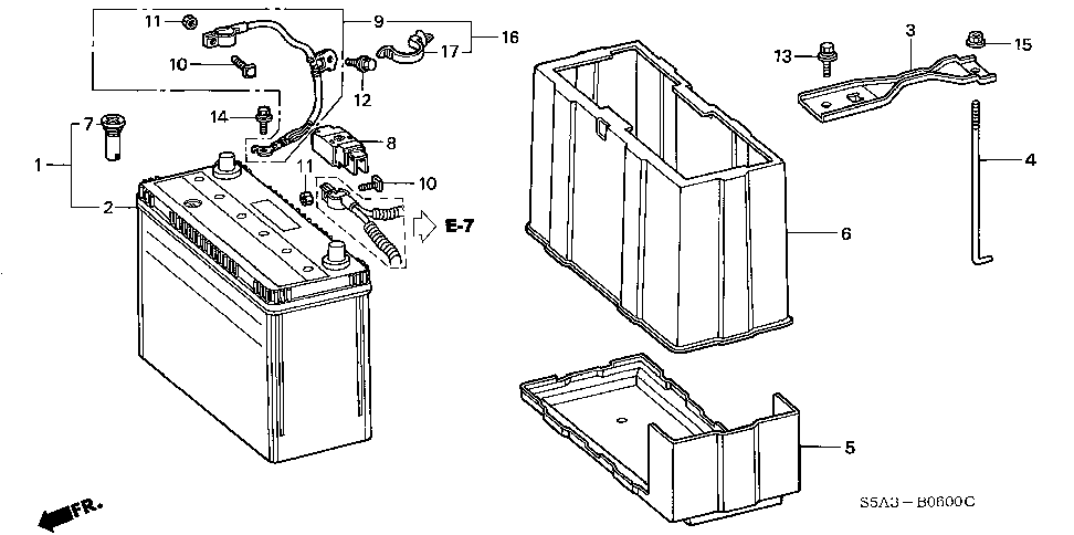 31512-S5A-000 - PLATE, BATTERY SETTING