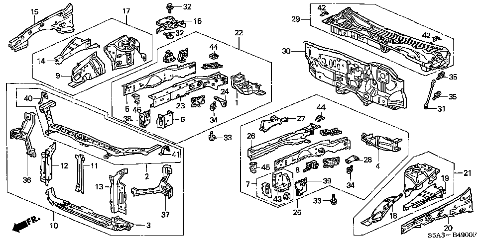 74232-S5A-000 - ROD, BRAKE PEDAL SUPPORT