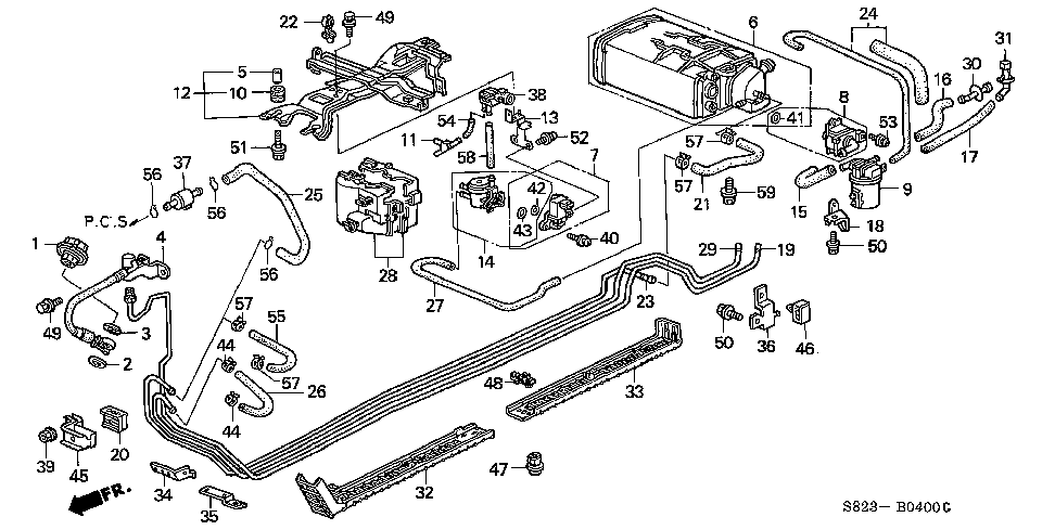 17723-S87-A00 - HOSE, PRESSURE REGULATOR RETURN