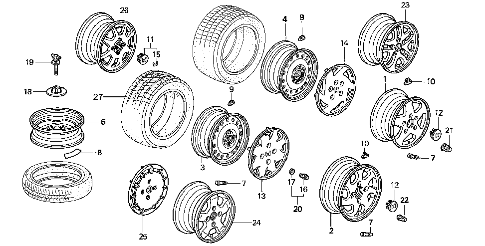 90381-SV7-A01 - NUT, WHEEL (KEY FASTENERS)