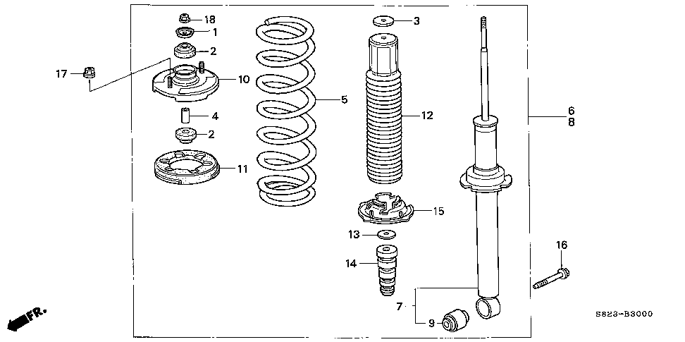 52622-S84-A01 - BUSH, RR. SHOCK ABSORBER (LOWER)