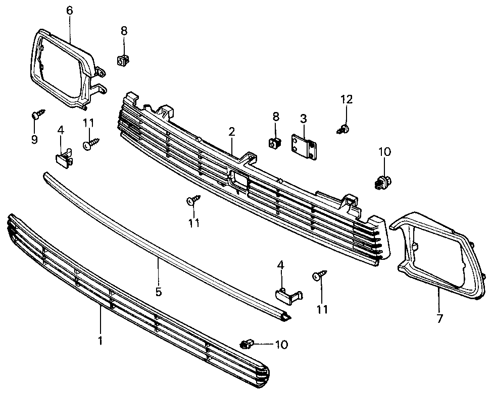 62325-SA0-000 - MOLDING, FR. GRILLE (LOWER)