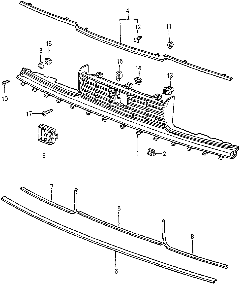 62325-SA5-000 - MOLDING, FR. GRILLE (LOWER)