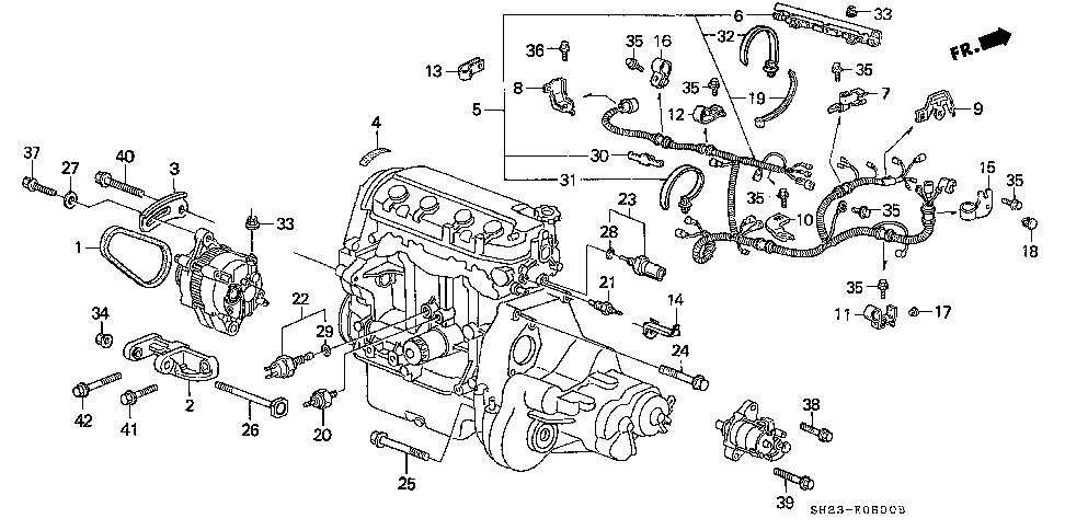 32110-PM5-A51 - SUB-WIRE, ENGINE