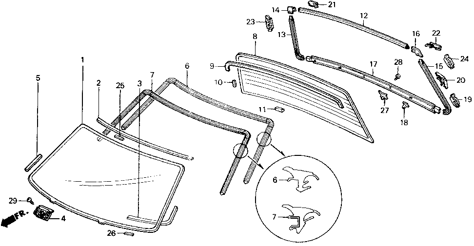 73226-SH4-000 - SPACER, RR. WINDSHIELD