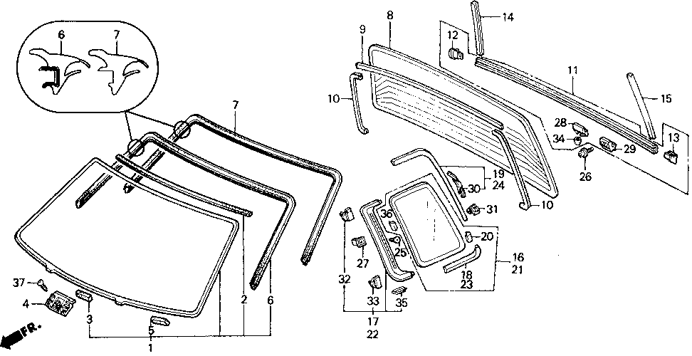73253-SH5-003 - MOLDING SUB-ASSY., RR. (LOWER)