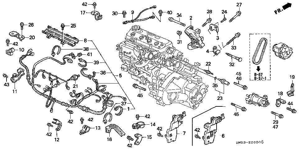 32110-PT6-A00 - WIRE HARNESS, ENGINE