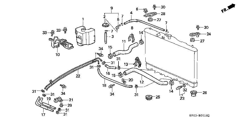 19503-PY3-003 - CLAMP, WATER HOSE (LOWER)