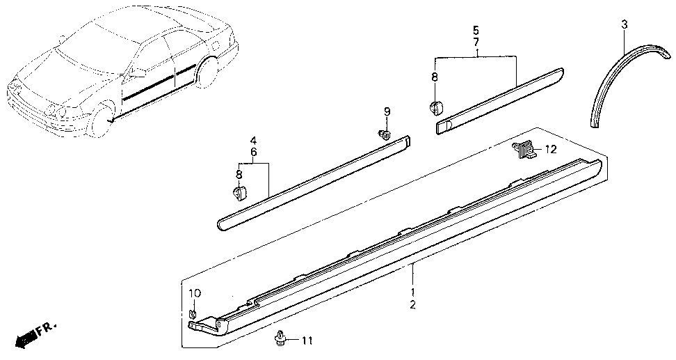 71800-ST8-000 - GARNISH ASSY., R. SIDE SILL