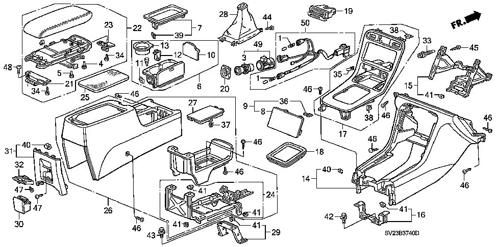 88323-SV4-003ZB - GARNISH ASSY., RR. CONSOLE *NH178L*(EXCEL CHARCOAL)