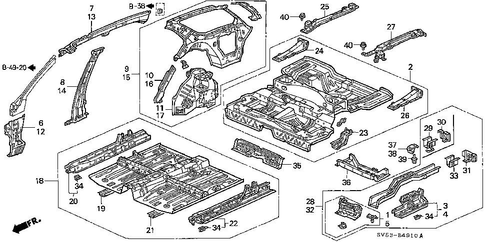 04656-SV5-A00ZZ - PANEL SET, R. SIDE SILL EXTENSION