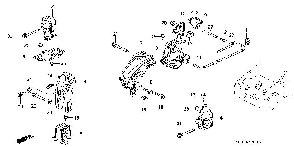50915-SX0-003 - STAY, SOLENOID