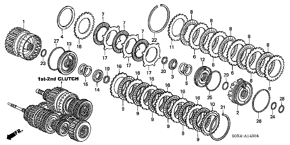 22553-PY4-003 - PLATE, CLUTCH END (3) (2.3MM)