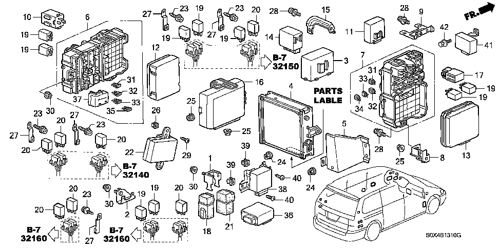 38210-S0X-A13 - BOX ASSY., FUSE (PASSENGER SIDE)