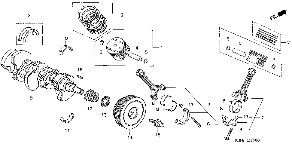 13212-P8F-A11 - BEARING B, CONNECTING ROD (BROWN) (TAIHO)
