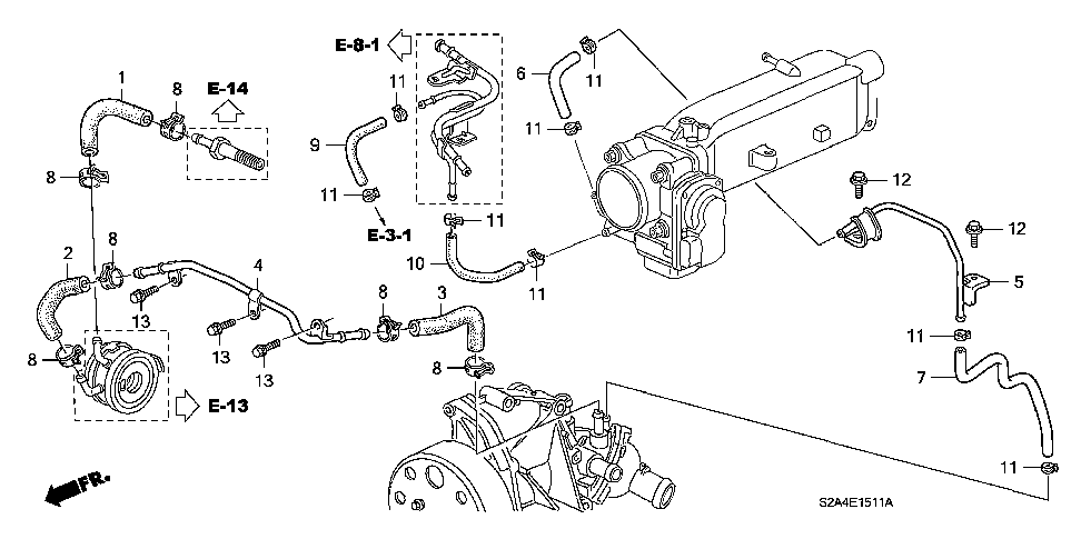 19507-PZX-000 - HOSE, THROTTLE BODY OUTLET