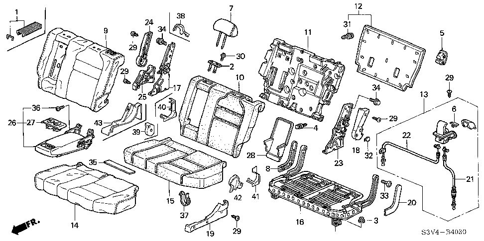 81729-S3V-305ZB - LEVER, L. MIDDLE SEAT RECLINING *YR203L*(SADDLE)