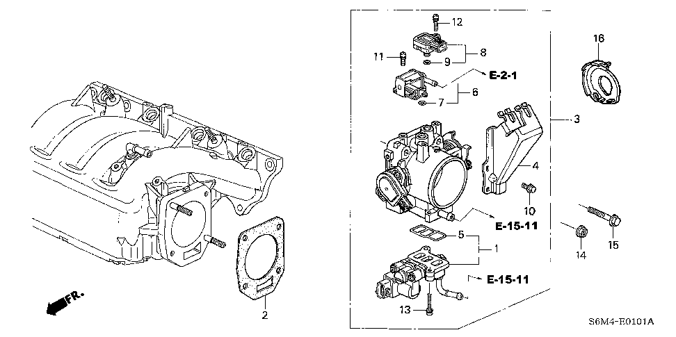 16176-PRB-A01 - GASKET, THROTTLE BODY