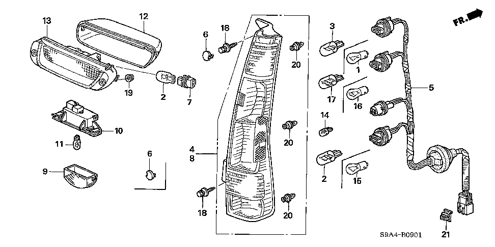 33501-SCA-A11 - LAMP UNIT, R. TAIL