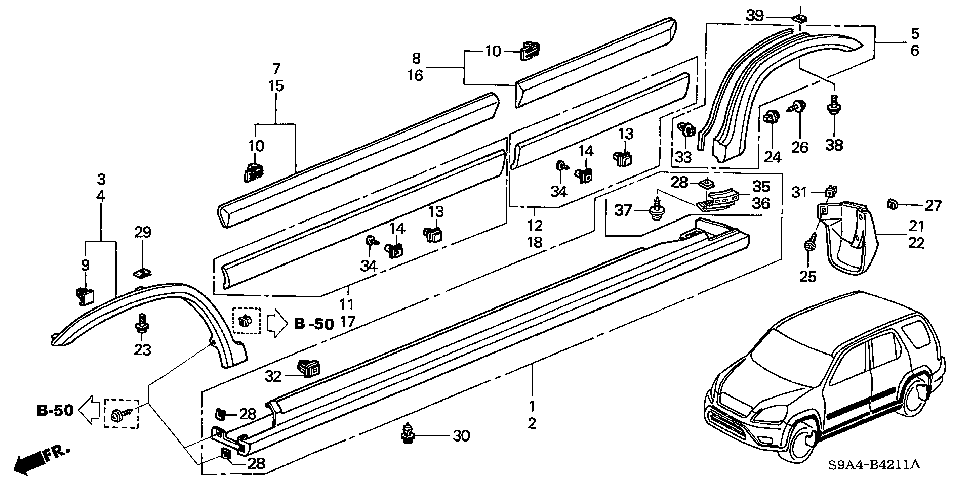 71800-S9A-010 - GARNISH ASSY., R. SIDE SILL
