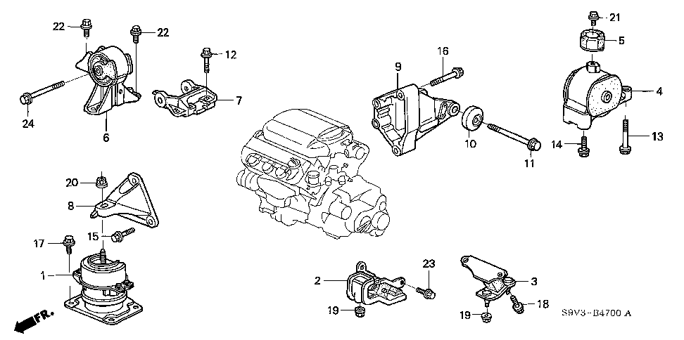50800-S3V-A82 - RUBBER, FR. ENGINE MOUNTING