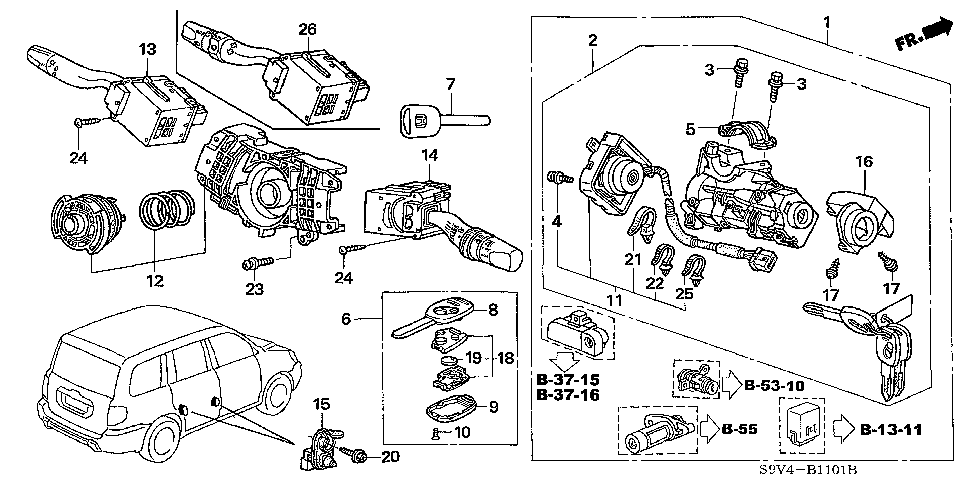 35130-S9V-A12 - SWITCH, STEERING