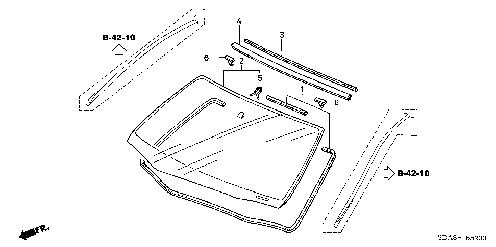 91568-SDA-A01 - CLIP, WINDSHIELD (UPPER)