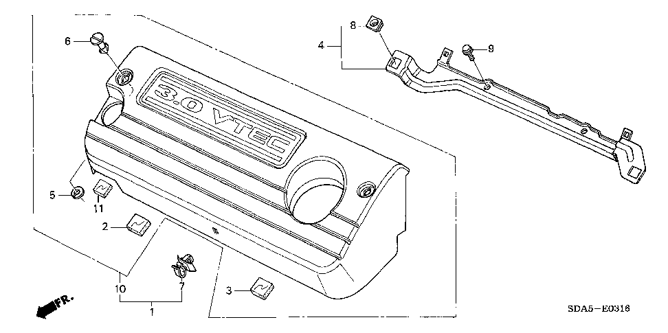 17141-RCA-A00 - RUBBER A, ENGINE COVER