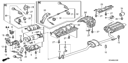 Honda online store : 2003 accord exhaust pipe (l4) parts