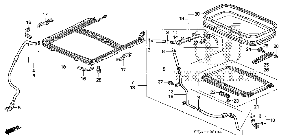 70068-SHJ-A40 - JOINT A, L. RR. SUNROOF DRAIN