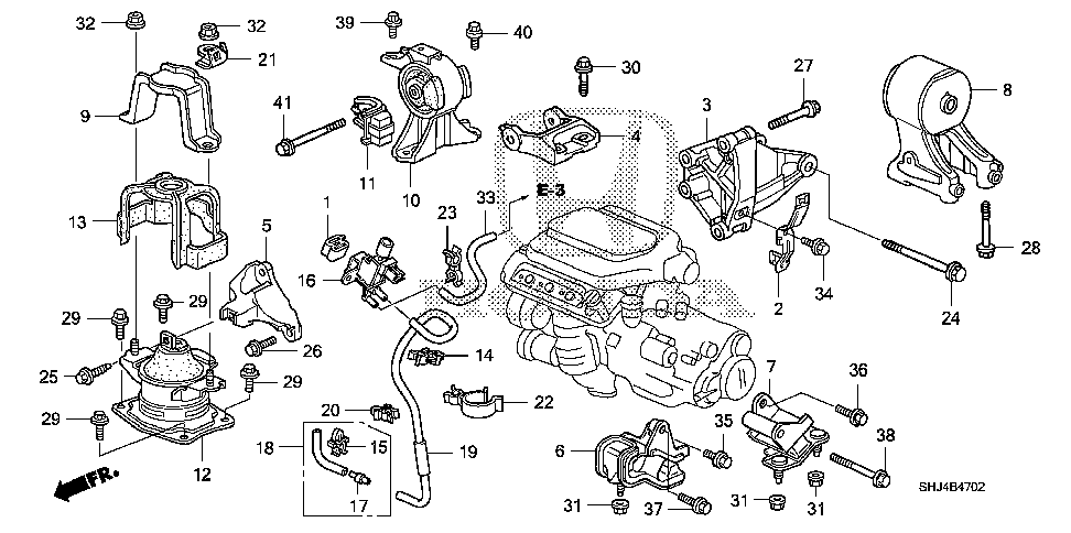 50820-SHJ-A61 - RUBBER ASSY., ENGINE SIDE MOUNTING