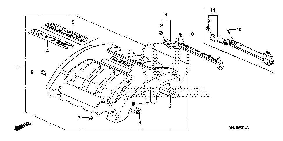 17147-RGW-A00 - STAY ASSY., ENGINE COVER
