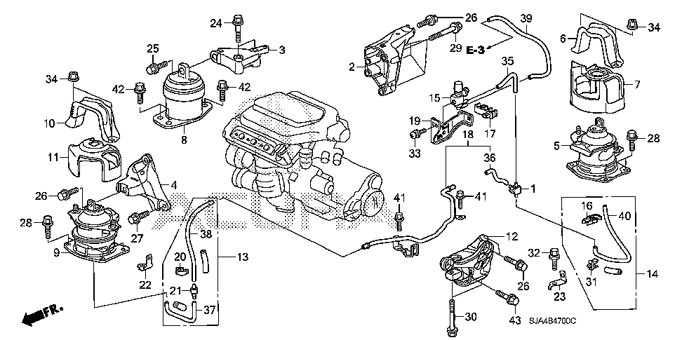 50810-SJA-A02 - MOUNTING ASSY., RR. ENGINE