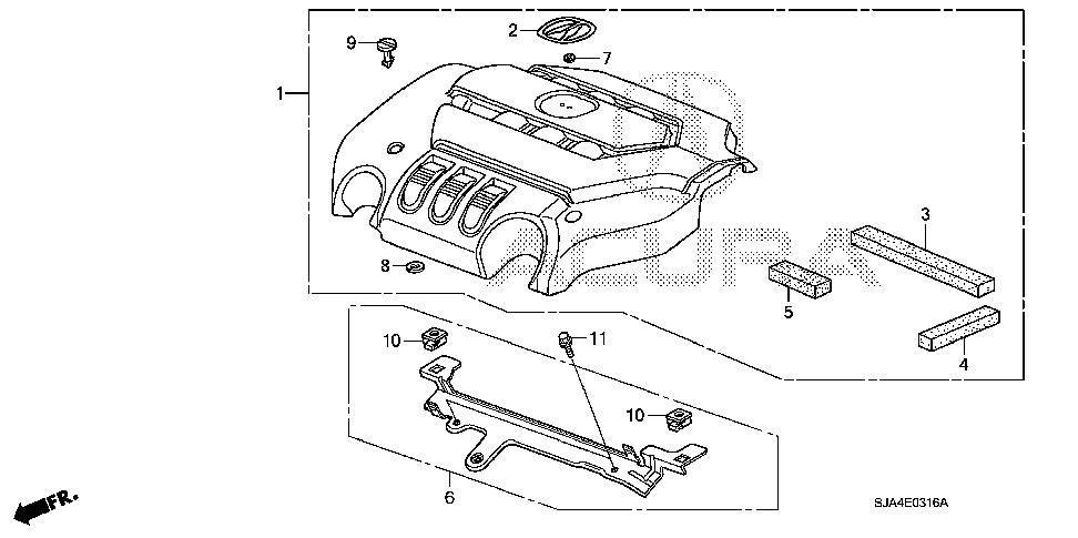 17147-RKG-A00 - STAY ASSY., ENGINE COVER
