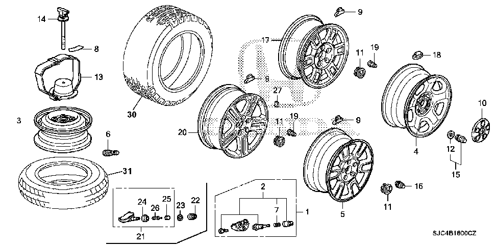 90304-TK4-A01 - NUT, WHEEL (M14)