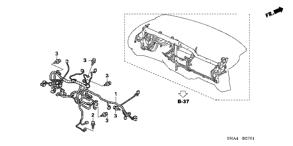 32117-SNA-A50 - WIRE HARNESS, INSTRUMENT