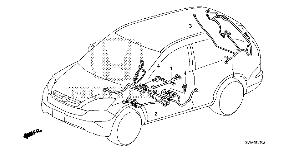 32107-SWA-A01 - WIRE HARNESS, CENTER FLOOR