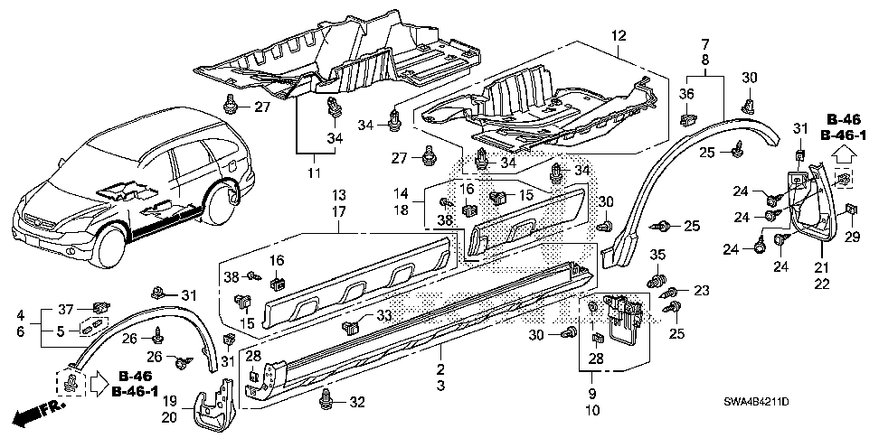 75312-SWA-003 - GARNISH ASSY., R. FR. DOOR (LOWER)