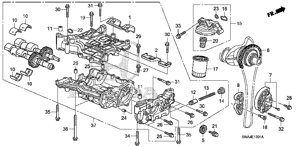 15312-R40-A01 - O-RING, OIL FILTER BASE (A)